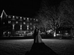 Outdoor night flash photograph at Sopley Mill Wedding