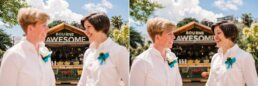 Colourful and creative photography at Bournemouth gay wedding