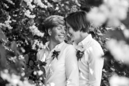 Black and white photography of lesbian Bournemouth wedding