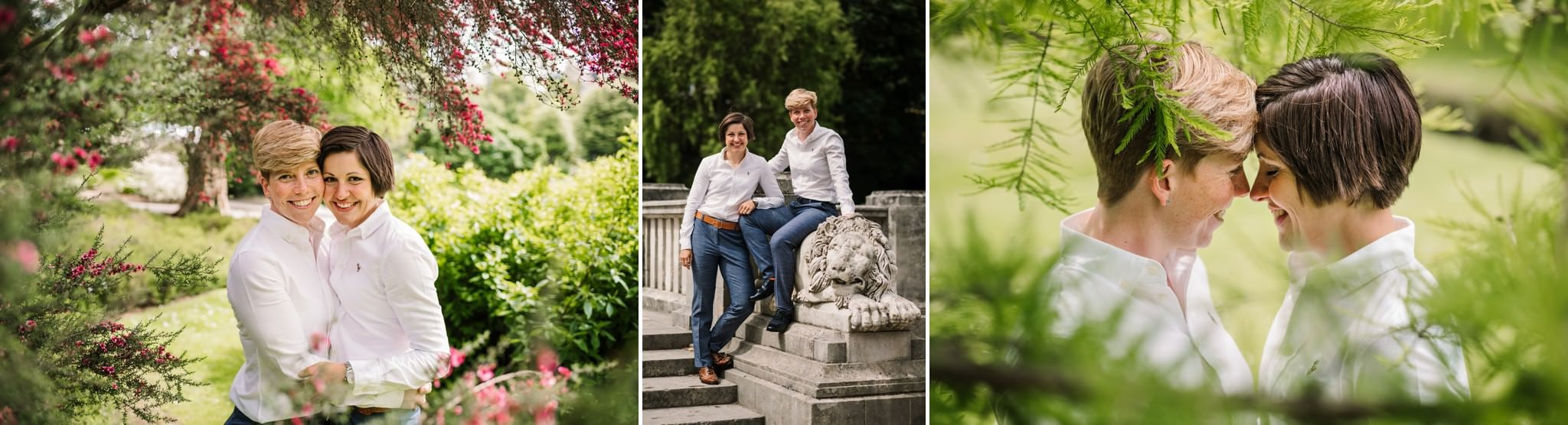 Same-sex Bournemouth Wedding photos in gardens