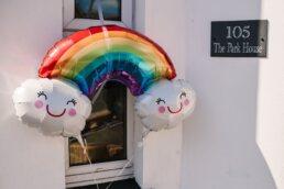 Gay pride rainbow at Dorset Wedding
