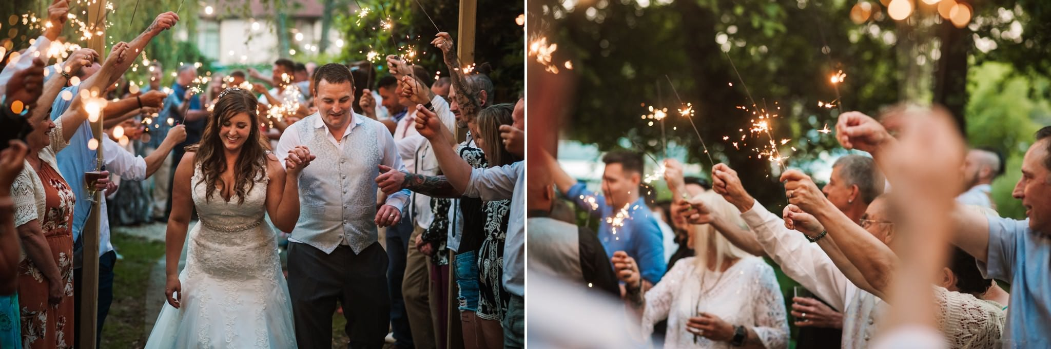 Sparkler exit at Gordleton Mill wedding