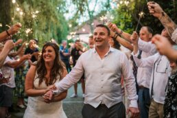 Sparkler fun at Gordleton Mill wedding