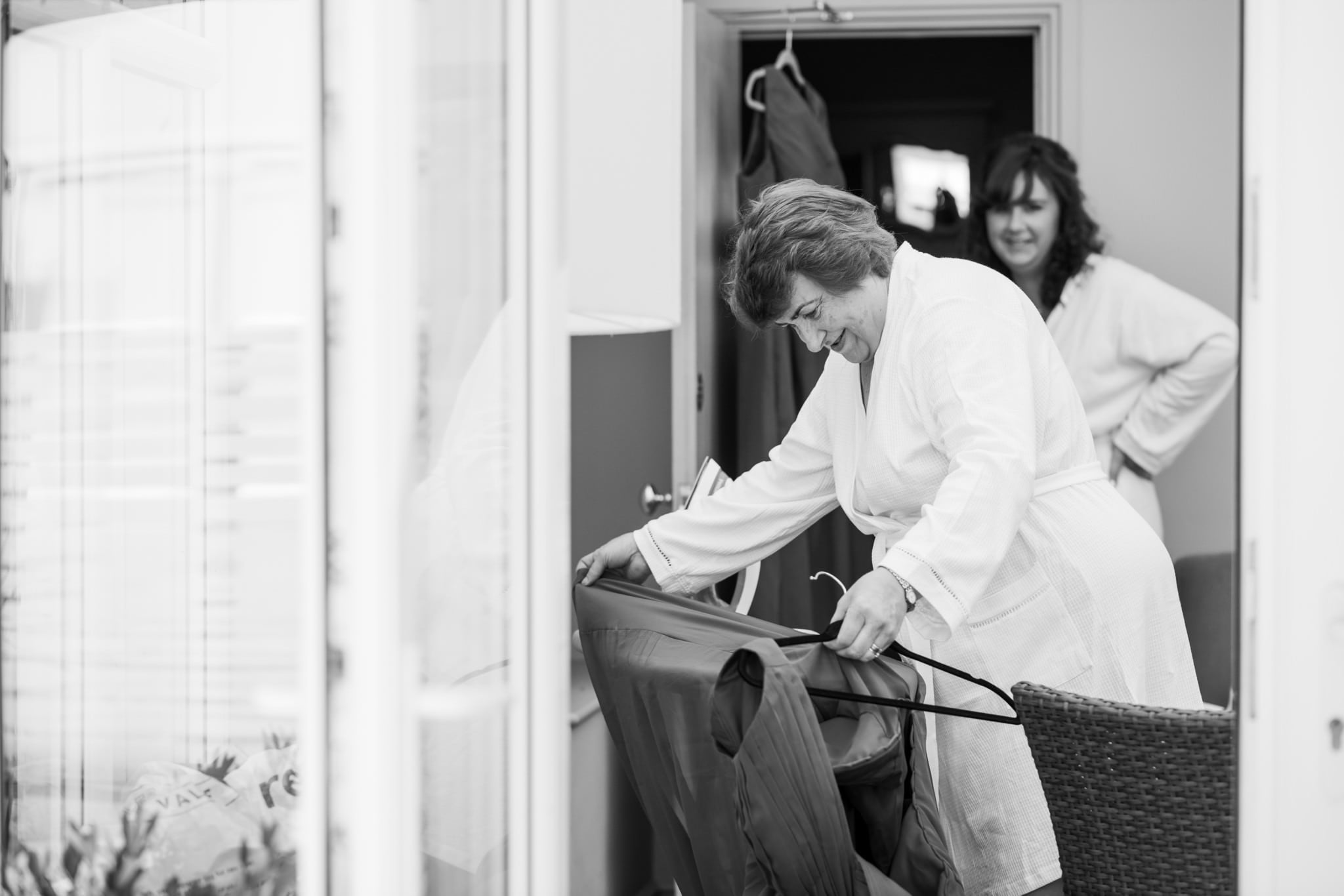 Mother of the bride ironing at Gordleton Mill