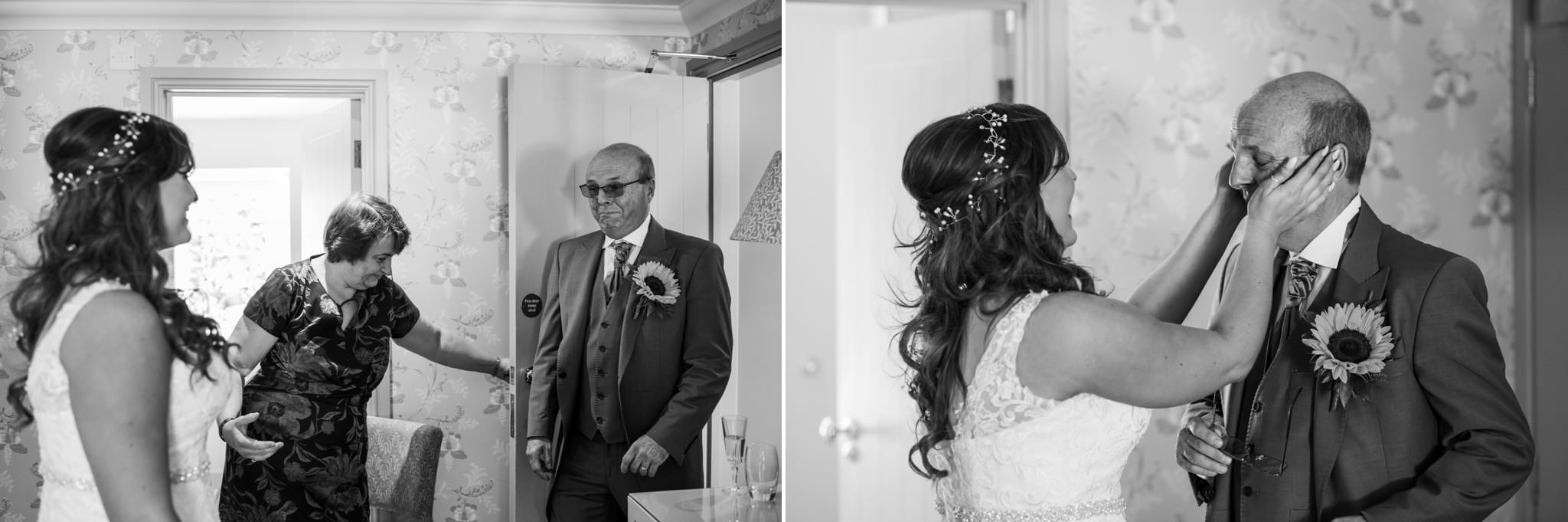 Father of Bride reaction at Gordleton Mill wedding