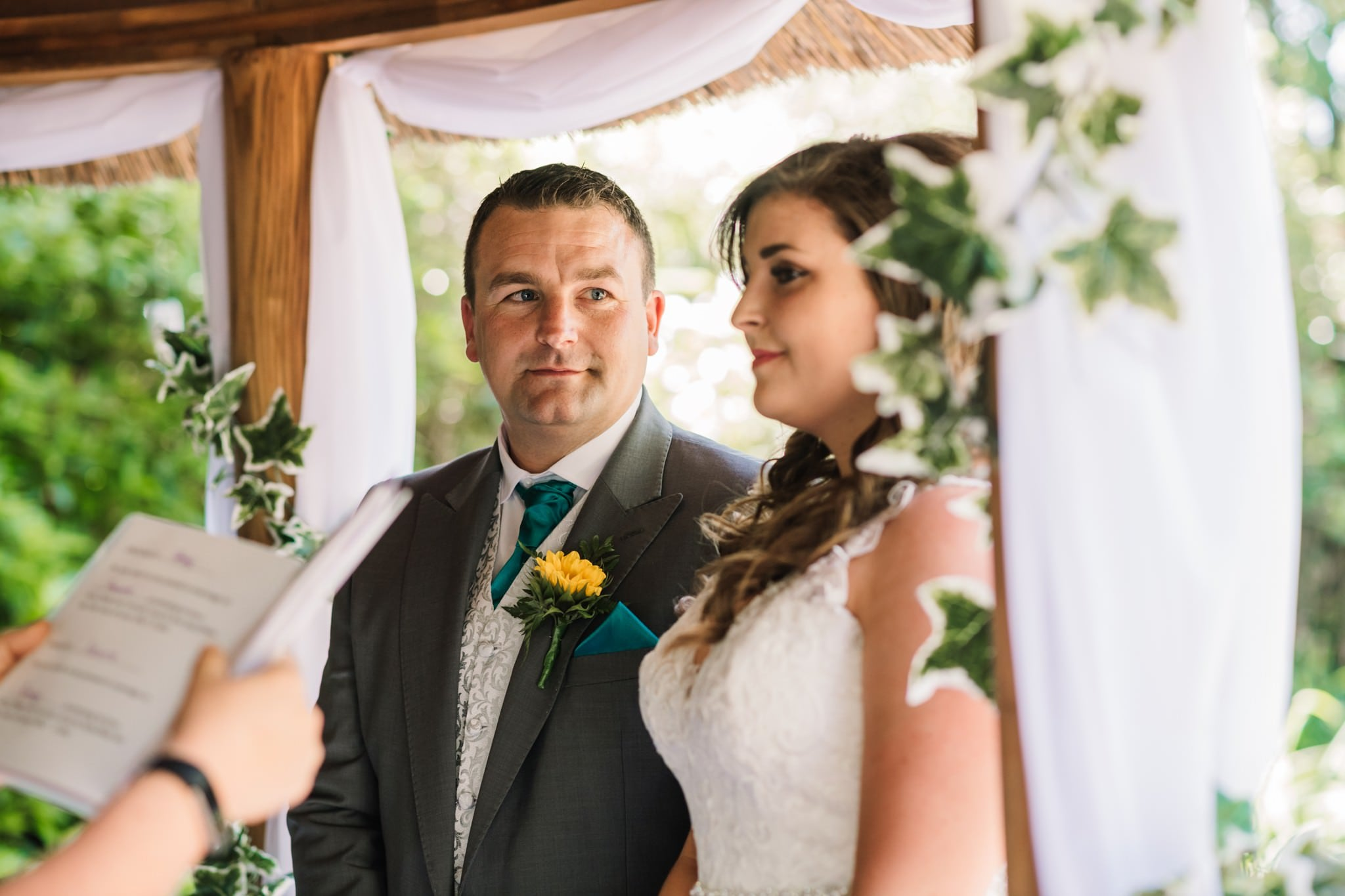 Groom during ceremony at Gordleton Mill