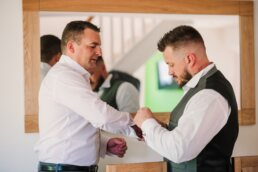 Photography of Gordleton Mill groom and best man