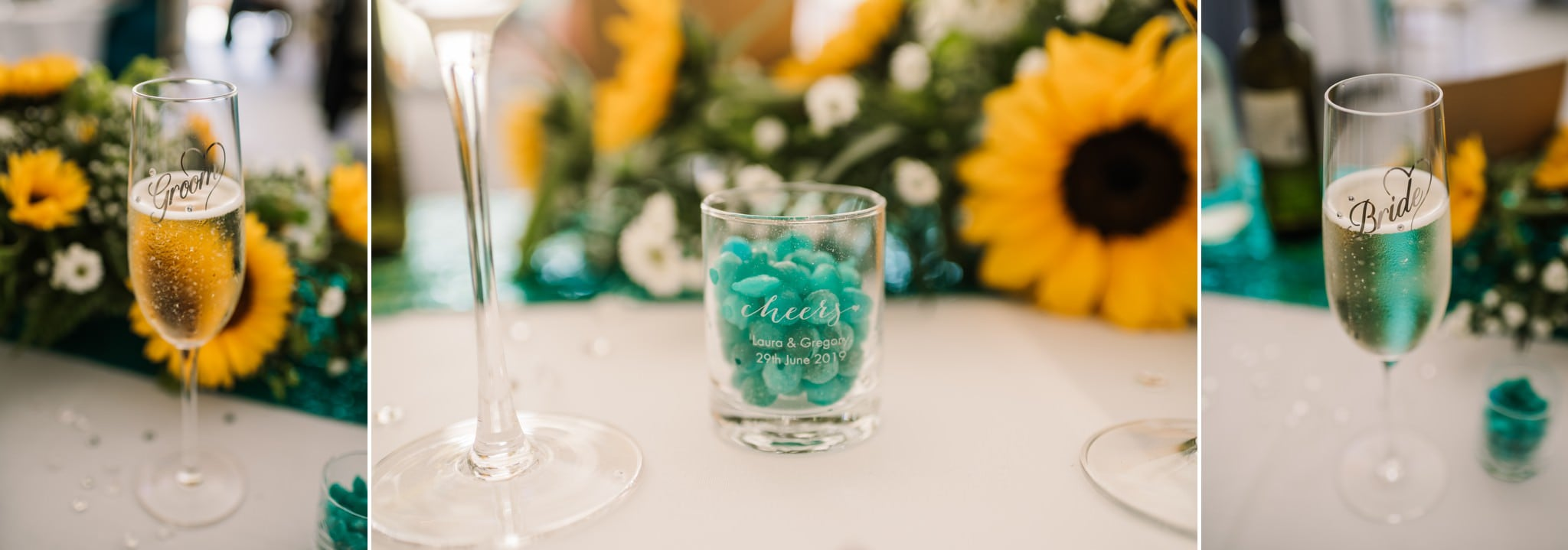 Sunflower and blue wedding theme at Gordleton Mill