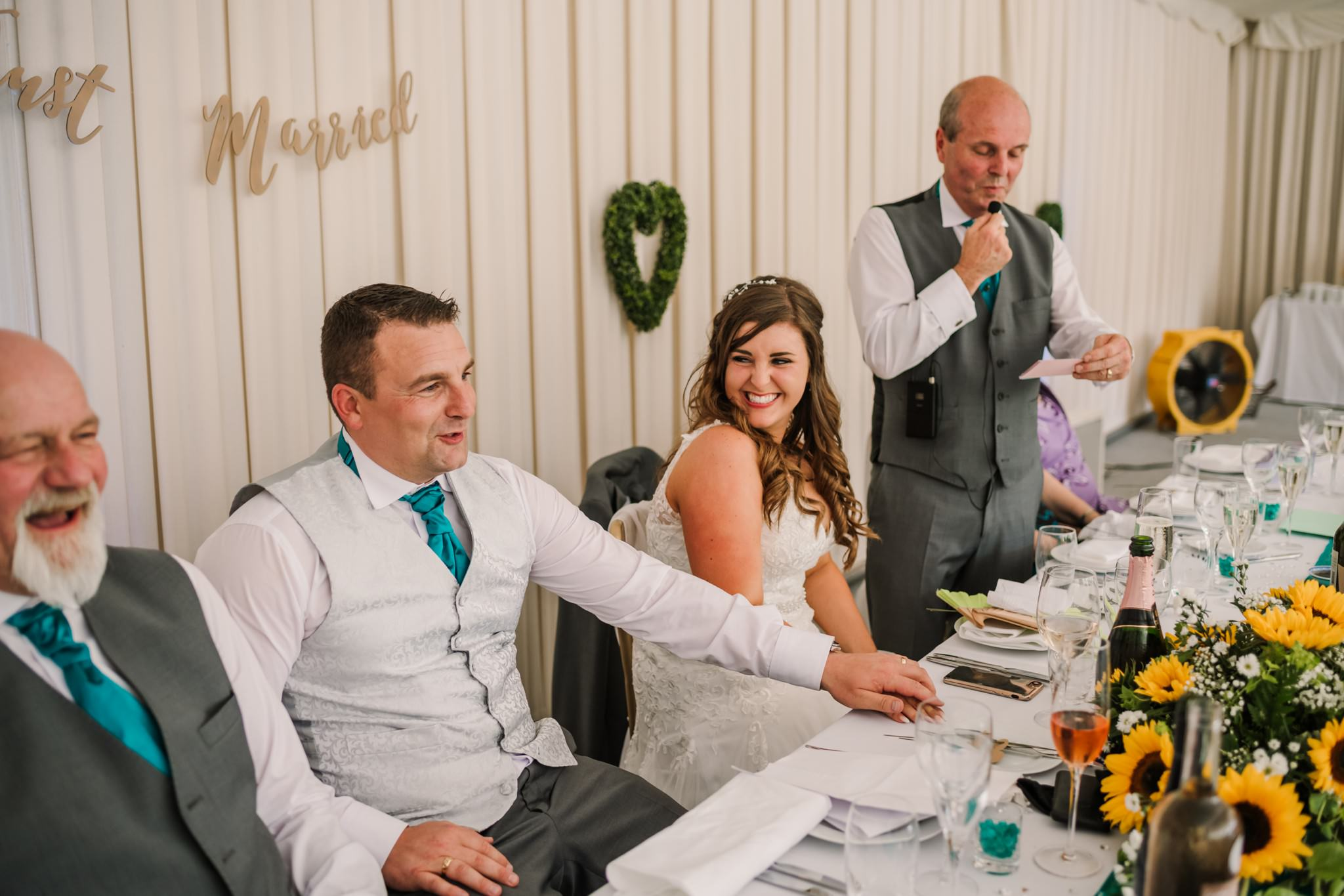 Fun wedding photography at funny speeches