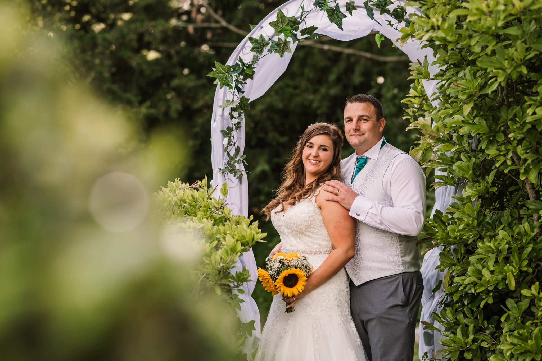 Happy bride and groom at Gordleton Mill wedding