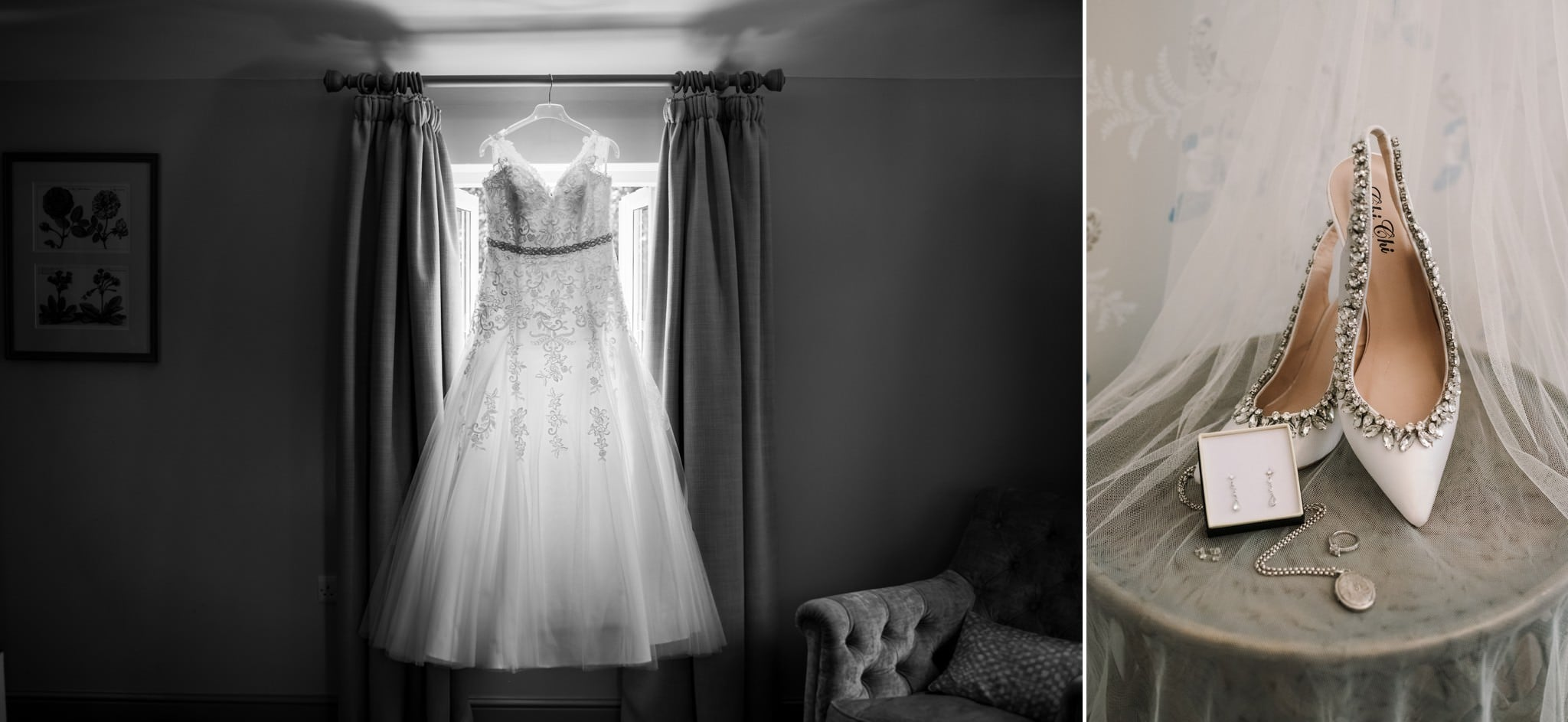 Wedding dress and shoes at Gordleton Mill
