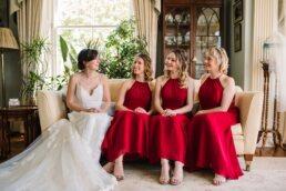 Bride and bridesmaids at Parley Manor Wedding