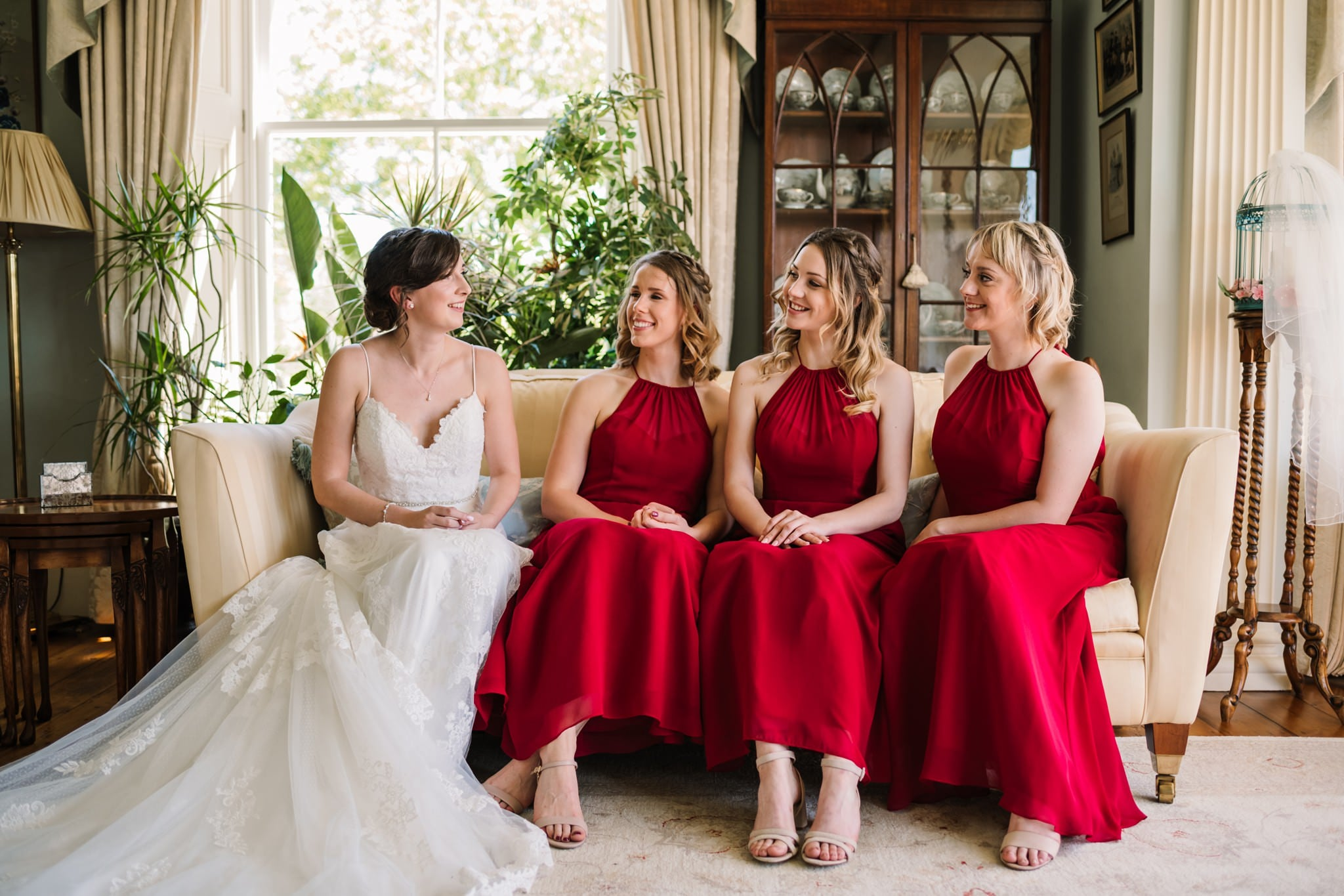 Bride and bridesmaids at Parley Manor Wedding