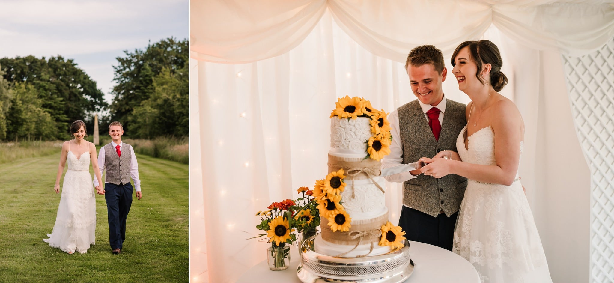 Photos of cutting the cake at Parley Manor Wedding
