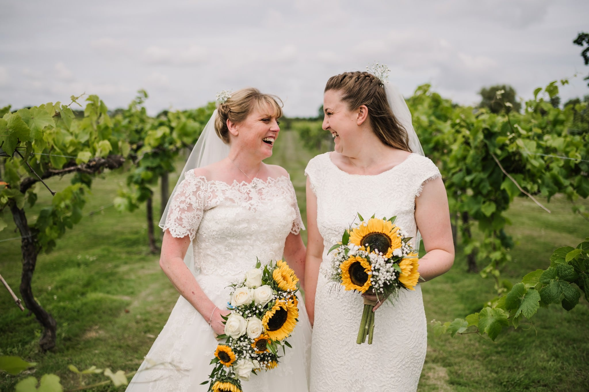 Lesbian brides at Three Choirs Vineyard wedding