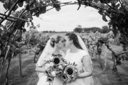 Three Choirs Vineyard wedding day in July