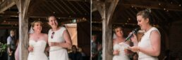 Outdoor speeches at Three Choirs Vineyard wedding in Hampshire