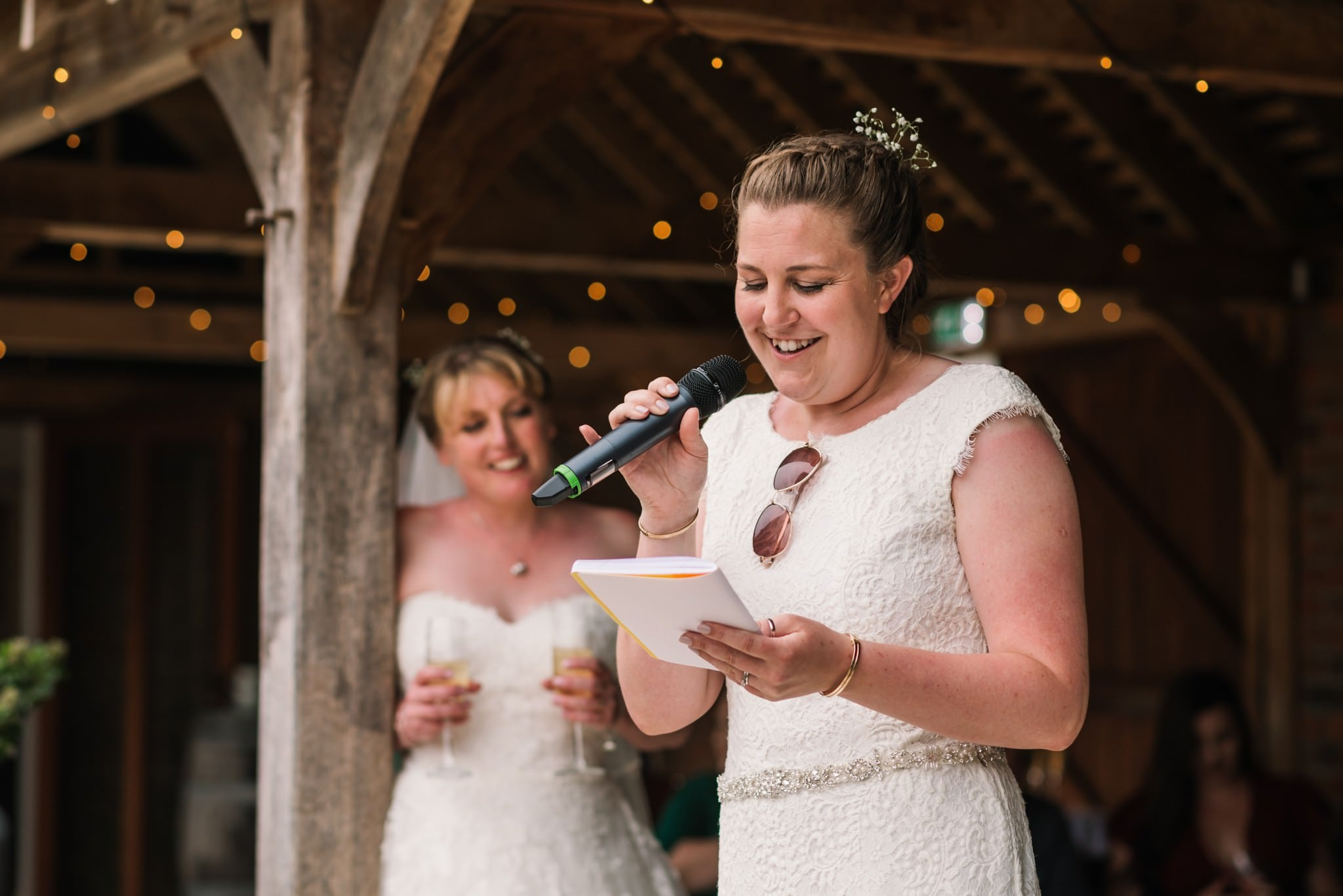 Outside speeches at Three Choirs Vineyard wedding