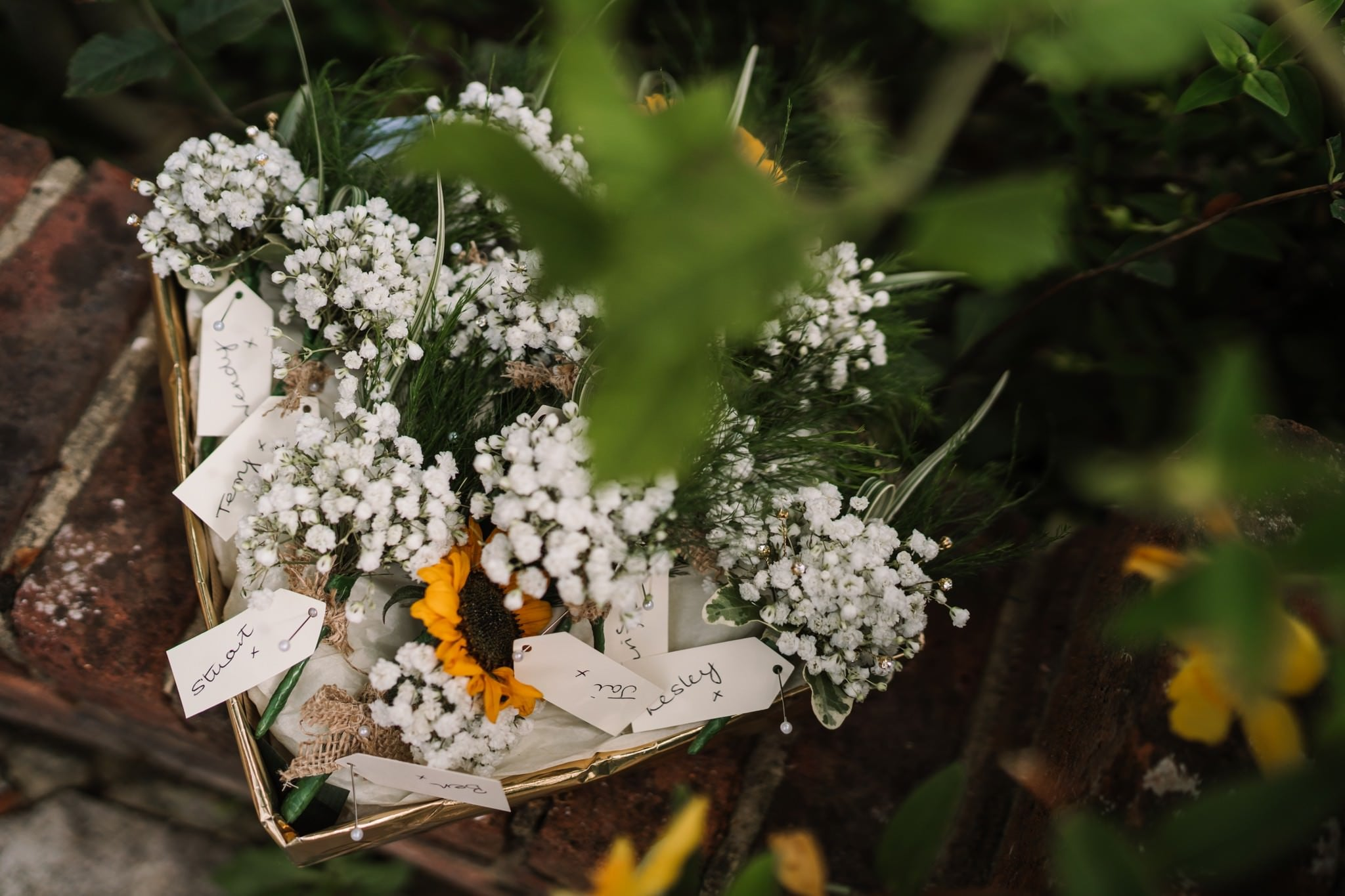 Buttonholes at Three Choirs Vineyard wedding