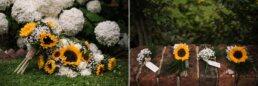 Sunflower bouquet and buttonholes at Three Choirs Vineyard wedding