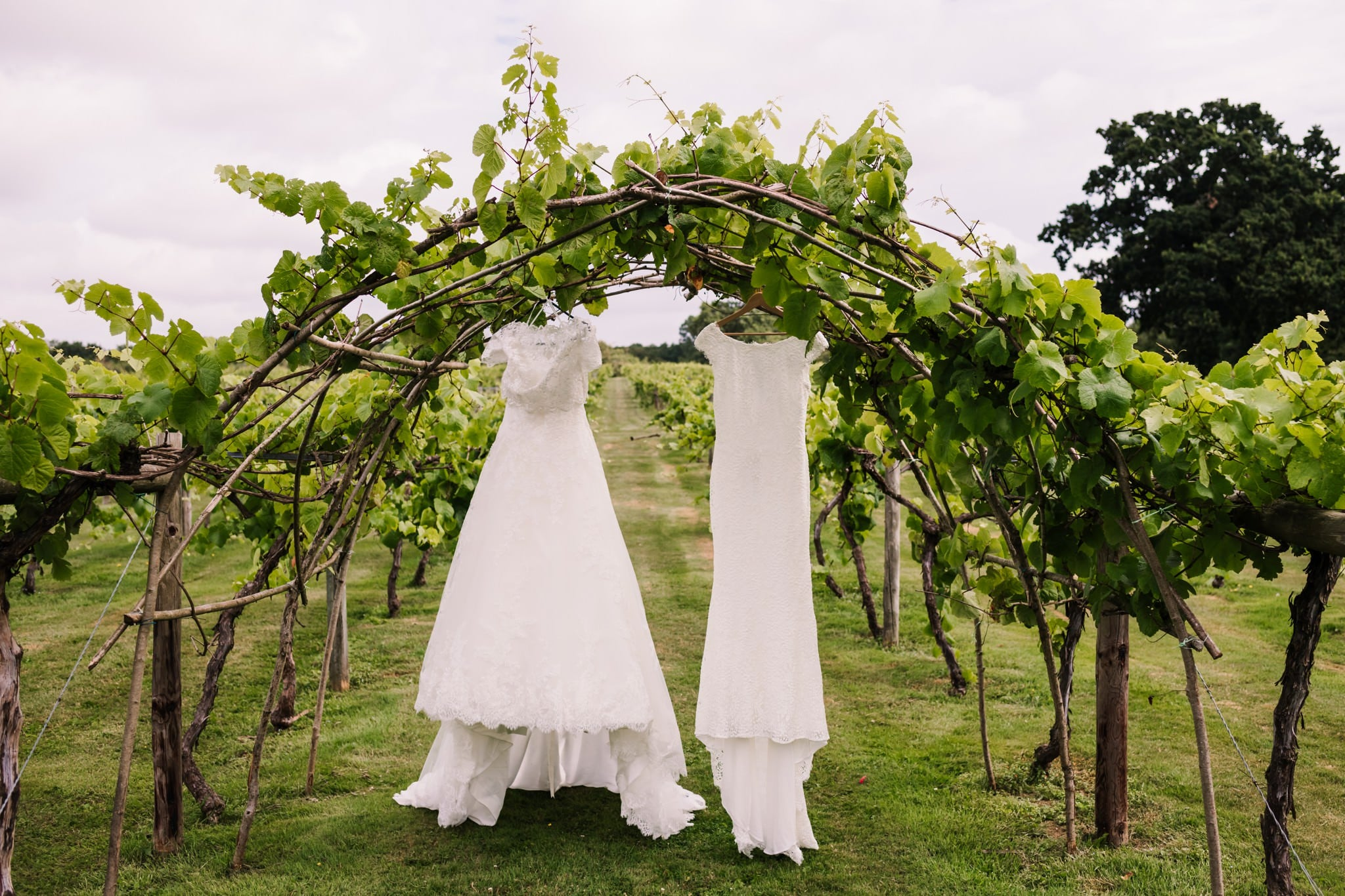 Photography of wedding dress at Three Choirs Vineyard Wickham
