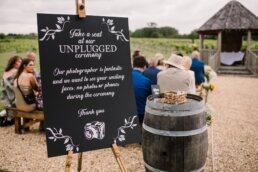 Unplugged wedding sign at Hampshire wedding