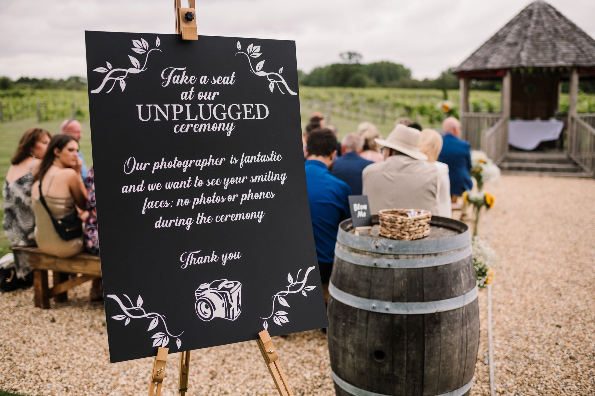 Unplugged wedding sign at Hampshire wedding