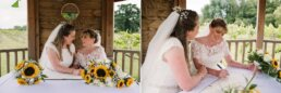 Photos of signing the register at Three Choirs Vineyard wedding