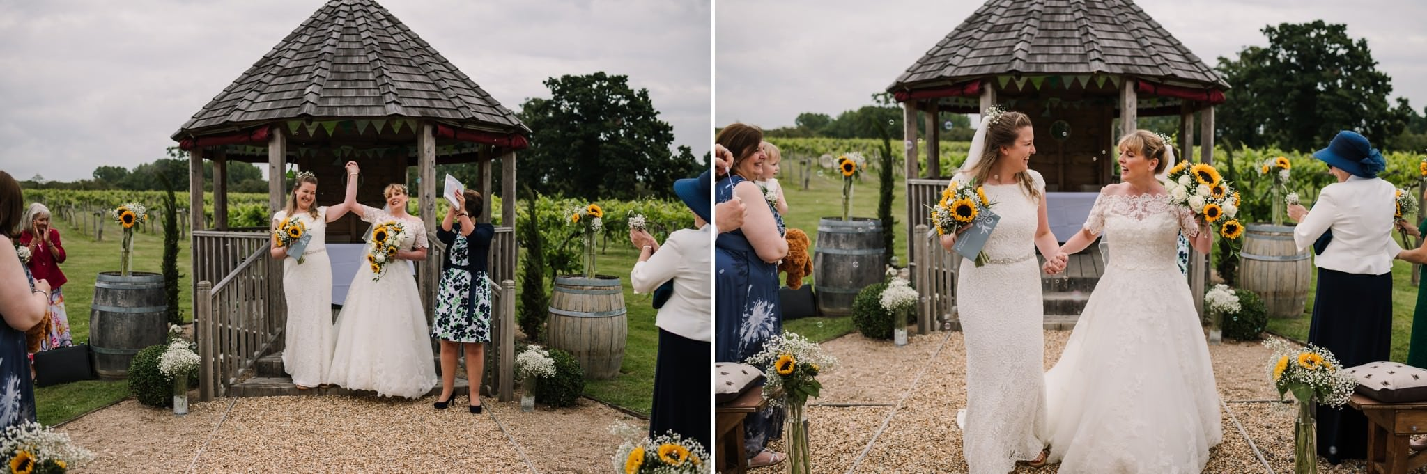 Outdoor wedding ceremony at Three Choirs Vineyard Wickham