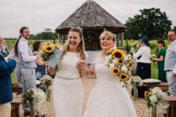 Bubble exit at Three Choirs Vineyard wedding