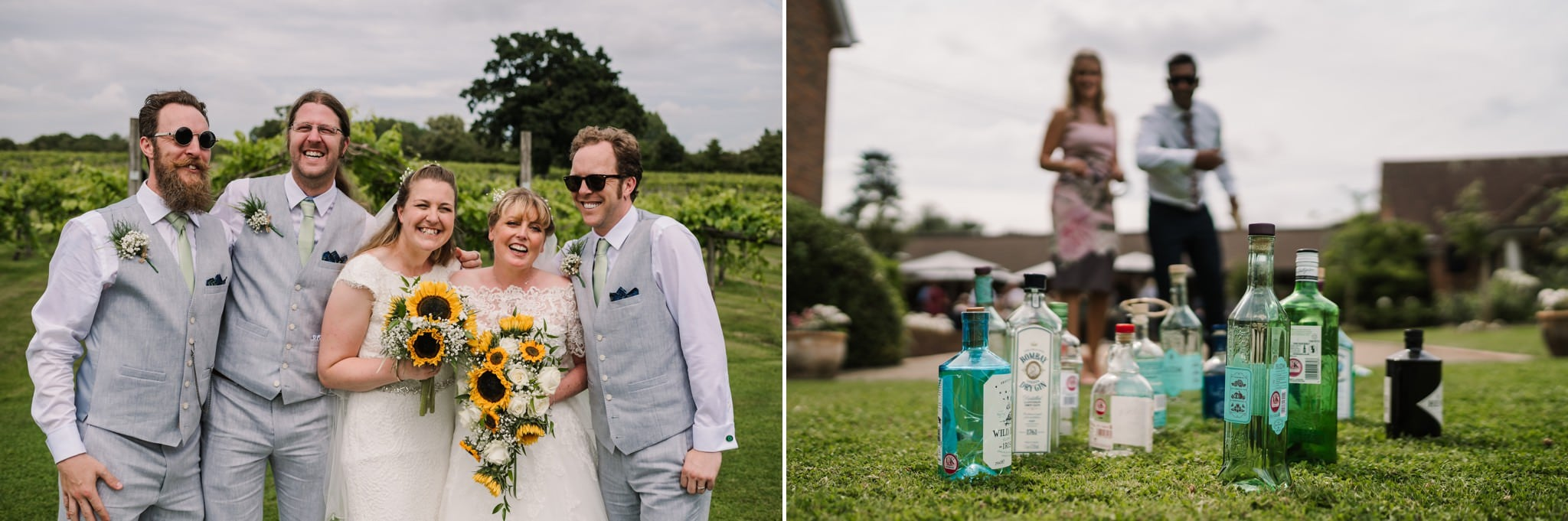 Gin themed games at Three Choirs Vineyard wedding