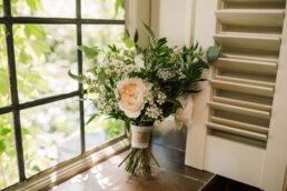 Photography of green and white Bouquet at Gordleton Mill Wedding