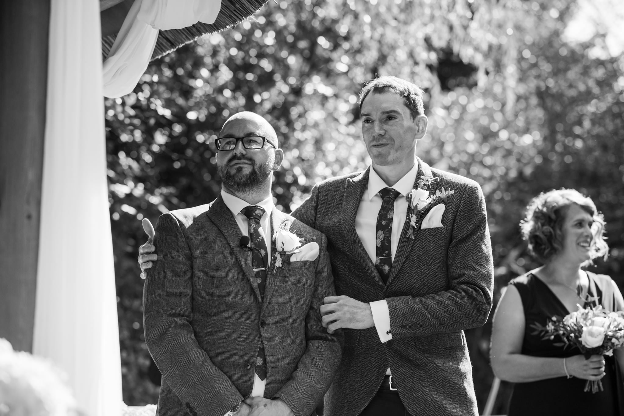 Professional photography of groom and best man at Gordleton Mill Wedding