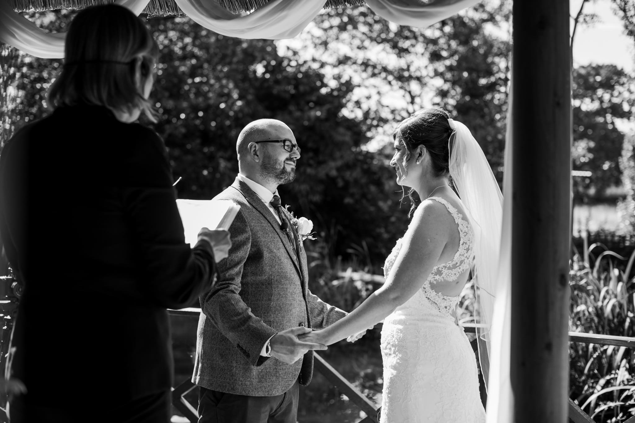 Photography of wedding in secret garden at Gordleton Mill Wedding