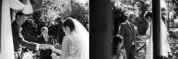 Exchanging wedding rings at Gordleton Mill Wedding
