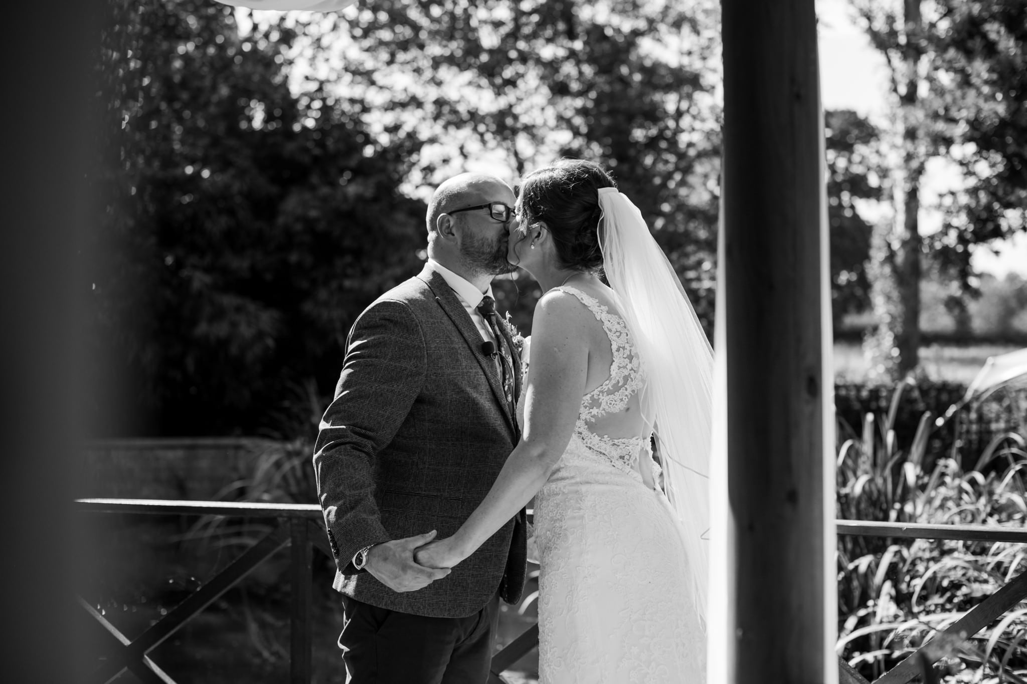 Photos of first kiss at Gordleton Mill Wedding