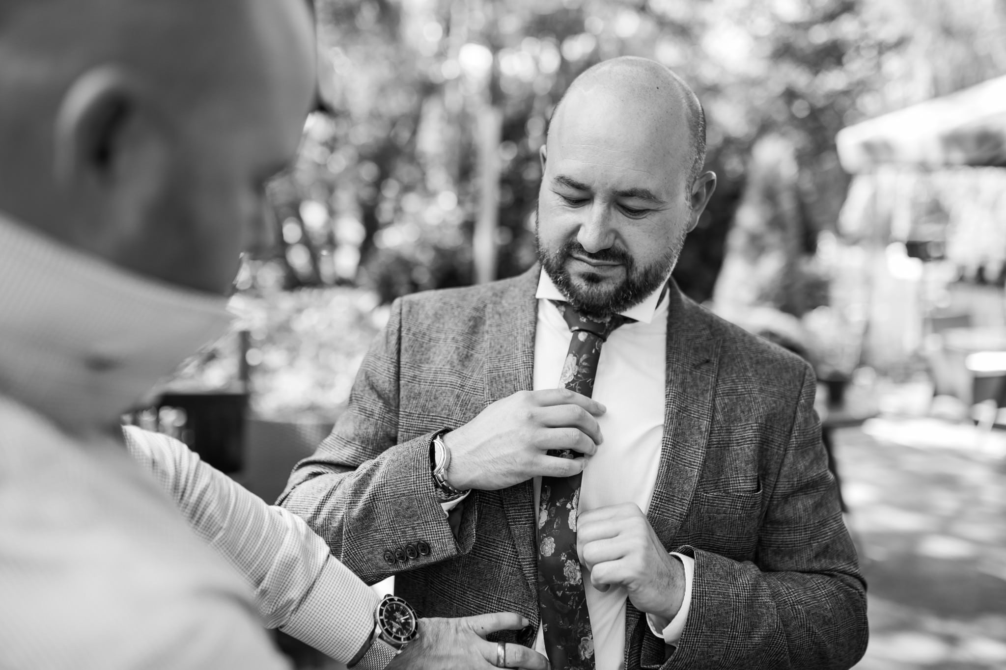 Groom prep photos at Gordleton Mill Wedding