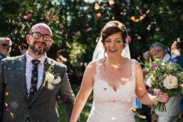 Colourful confetti photos at Gordleton Mill Wedding