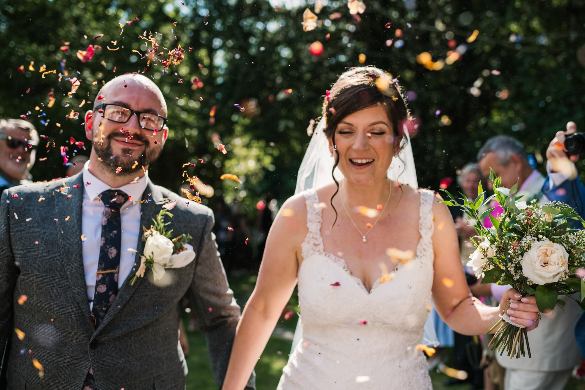 Colourful confetti photos at Gordleton Mill Wedding