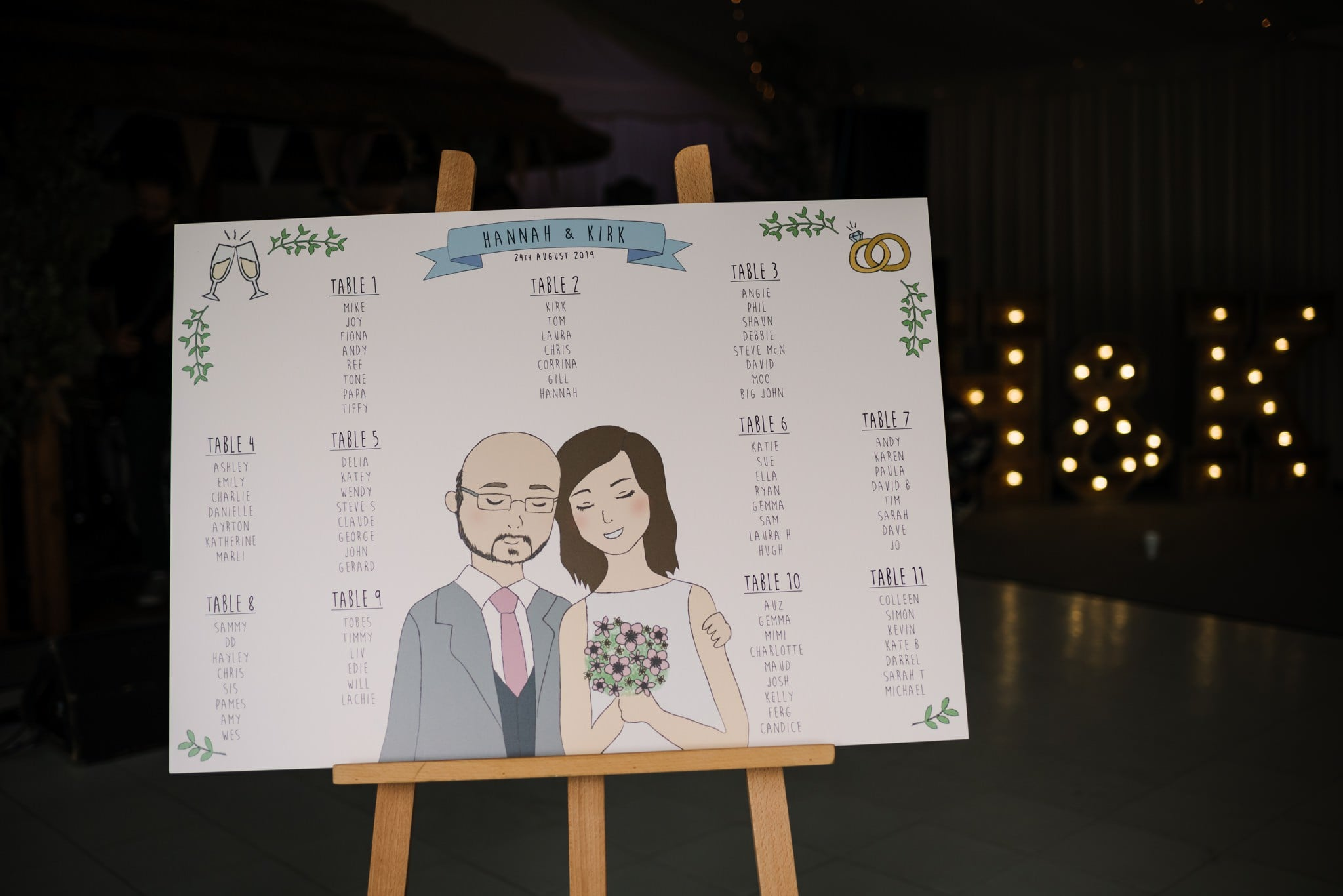 Photos of table plan at Gordleton Mill Wedding