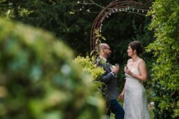 Bride and groom with champagne at Gordleton Mill Wedding