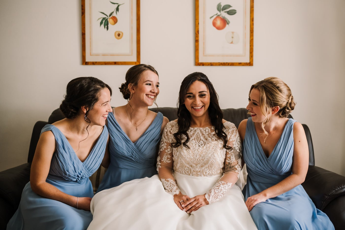 Blue bridesmaids dress in dorset