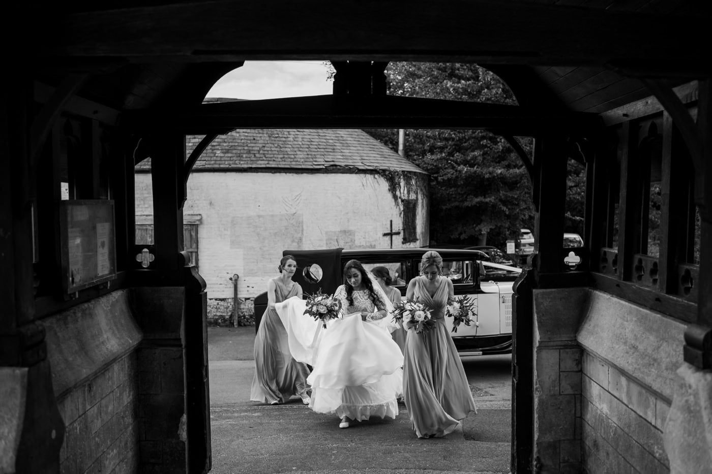 Bridal party arrive at dorset church
