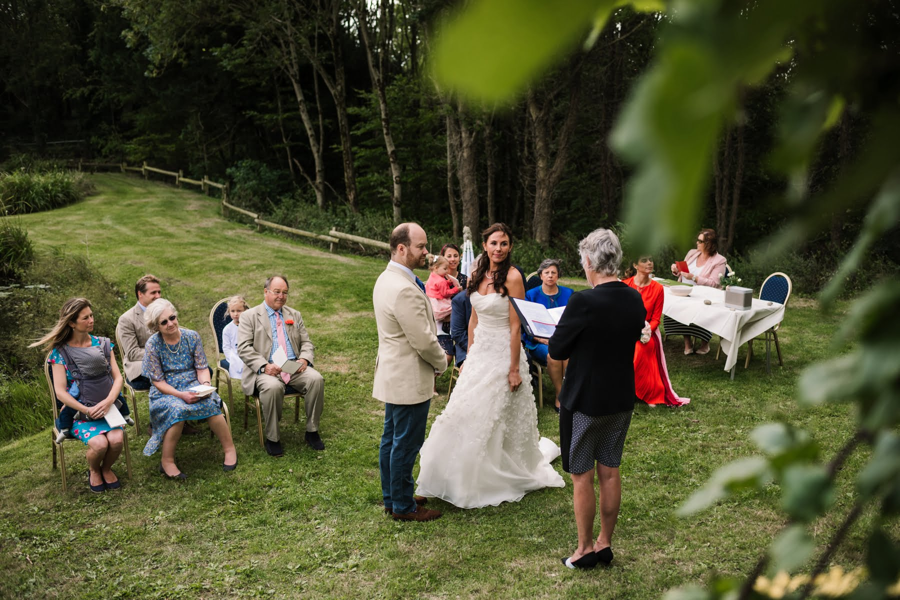 Outdoor wedding ceremony at Luccombe Farm