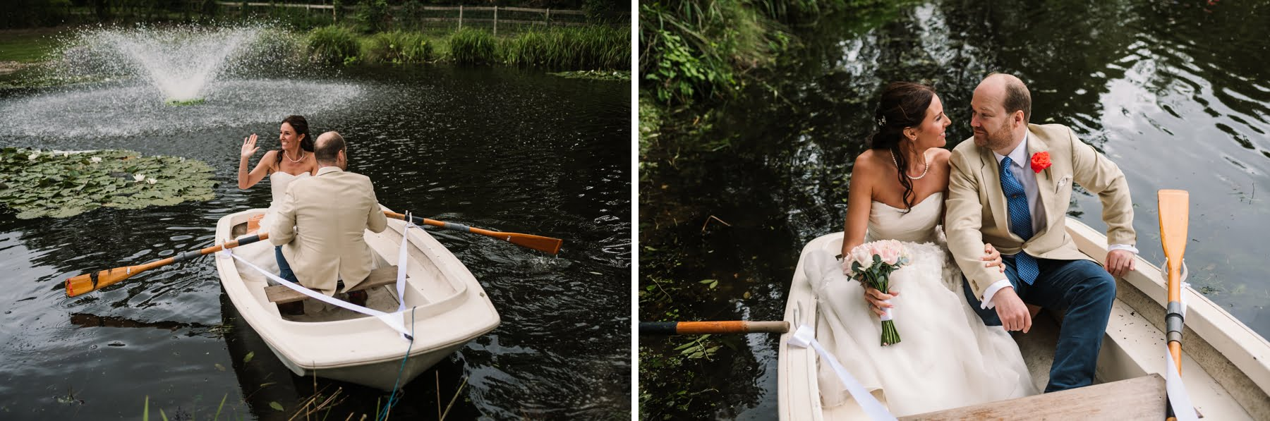 Dorset wedding rowing boat