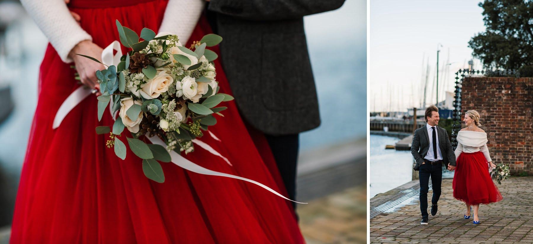 Christmas Eve wedding photos at Lymington Quay
