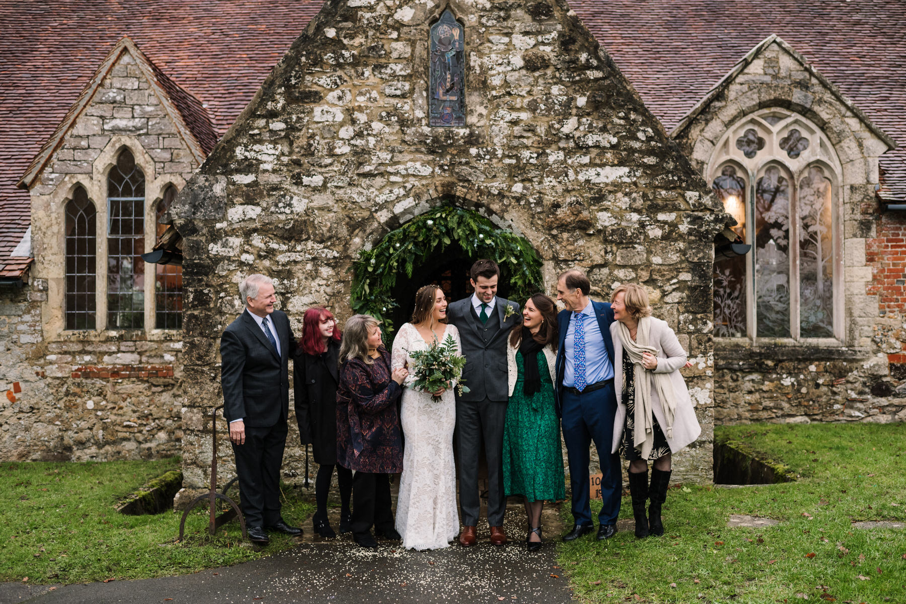 Group photos at new forest church wedding