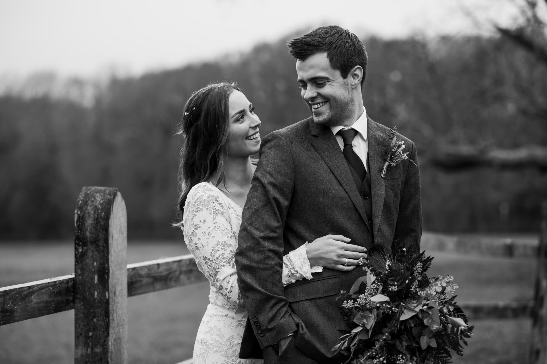 Black and white photography at Hampshire wedding