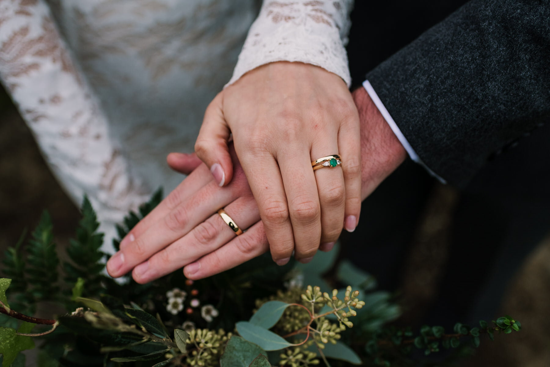 Green engagement ring at New Forest wedding