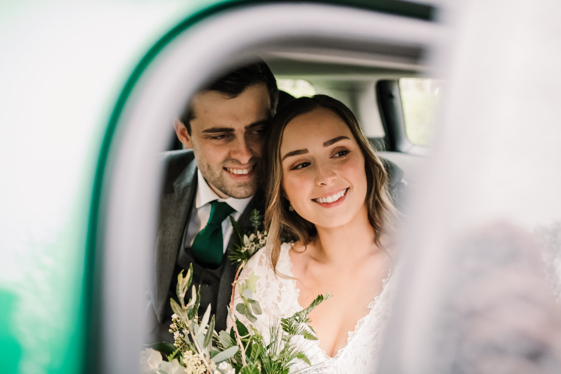 Green car at New Forest micro wedding